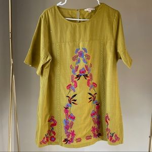 Mustard yellow embroidered tunic